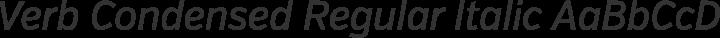 Verb Condensed Regular Italic free font