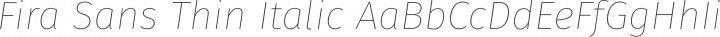Fira Sans Thin Italic free font