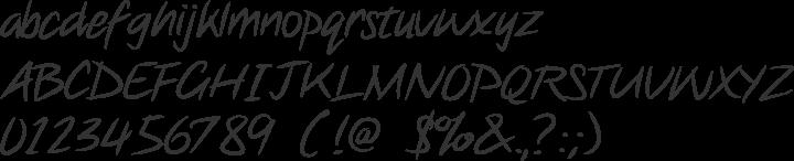 Note this Font Specimen
