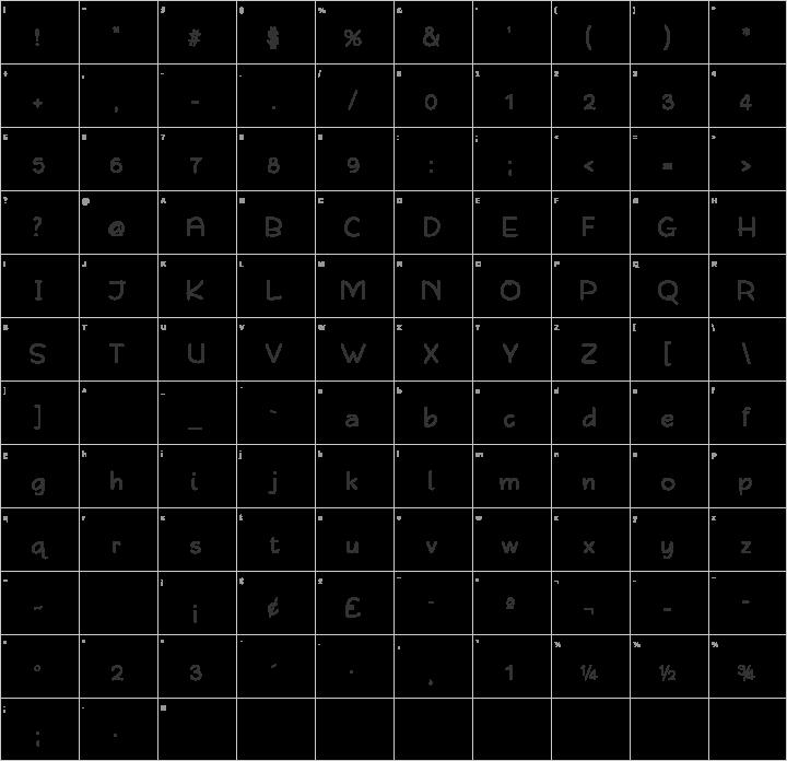 Qarmic Sans Glyph Map