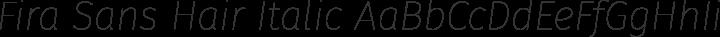 Fira Sans Hair Italic free font
