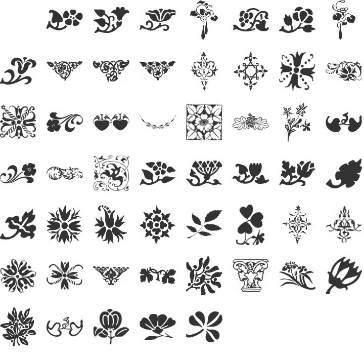 Printers Ornaments One Dingbat Font Specimen
